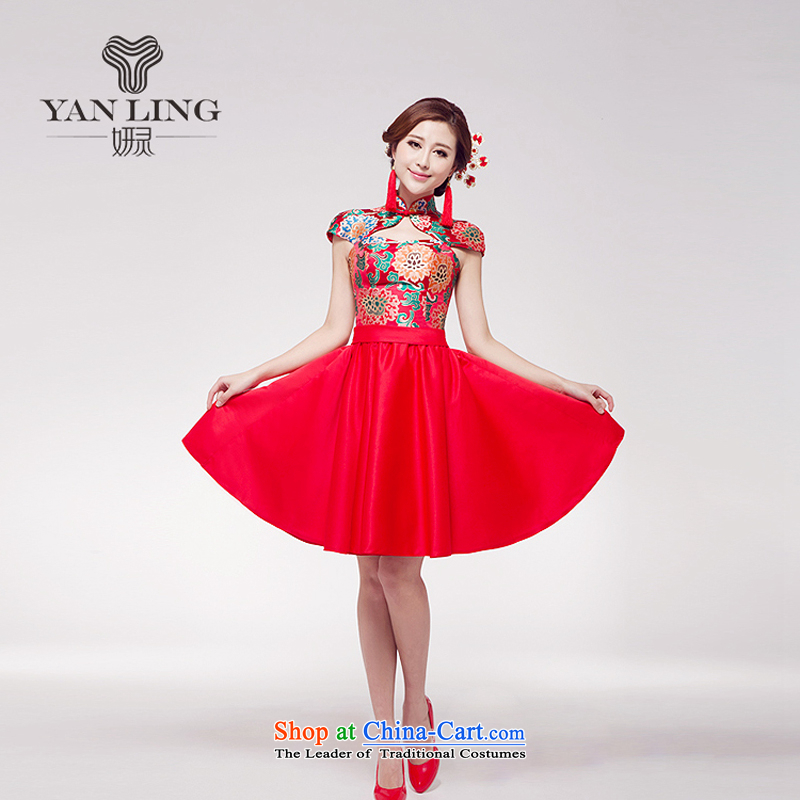 Charlene Choi Ling 2015 new marriage bows services small red dress Chinese improved stylish Princess Bride short skirts female?L