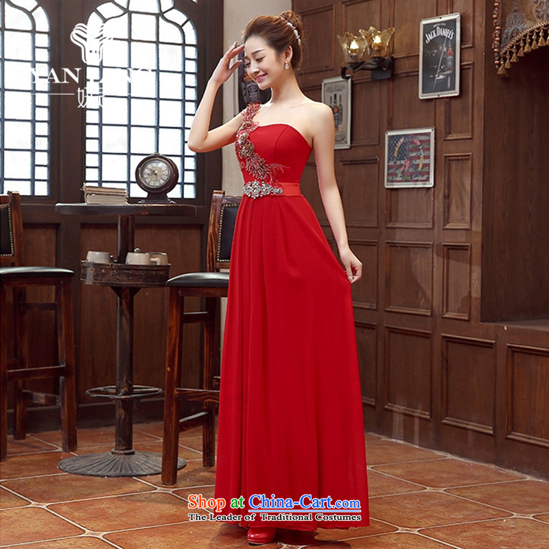 Charlene Choi Ling red bride bridesmaid marriage evening dresses performances bows services shoulder evening long bride with the new 2015 Red?L