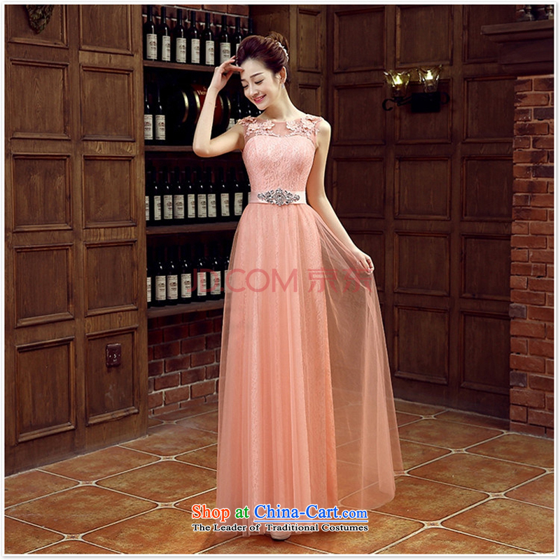 Charlene Choi Ling pink bride bridesmaid wedding dresses marriage shoulders bows services wedding night wear long shoulders 2015 new rose?L