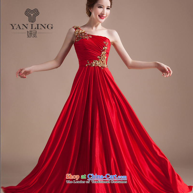 Charlene Choi Ling Lace Embroidery flowers shoulder red marriages bows service wedding dress evening long red?XXL