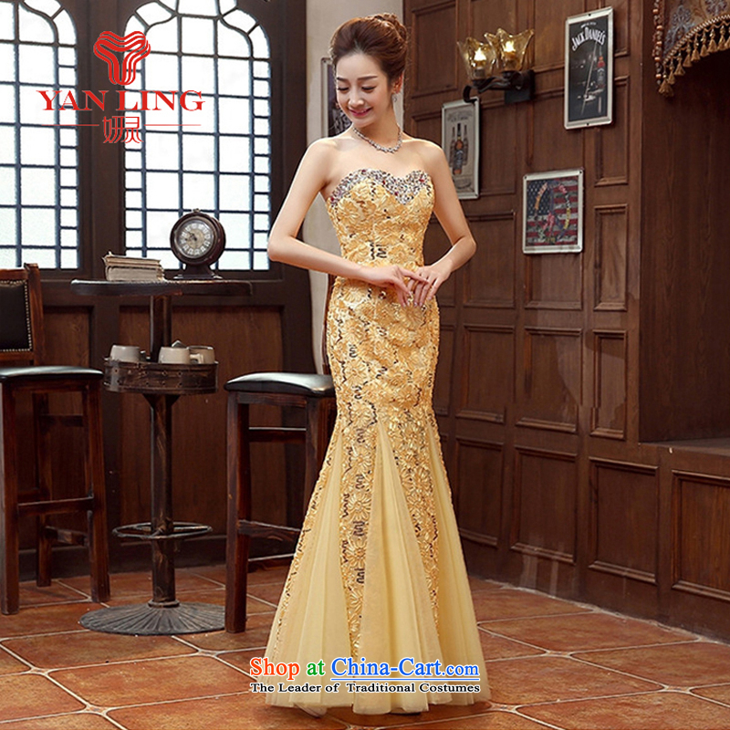 Charlene Choi Ling red and yellow bride bridesmaid wedding dress marriage bows services wedding night wear long bride with the new 2015 Yellow?L