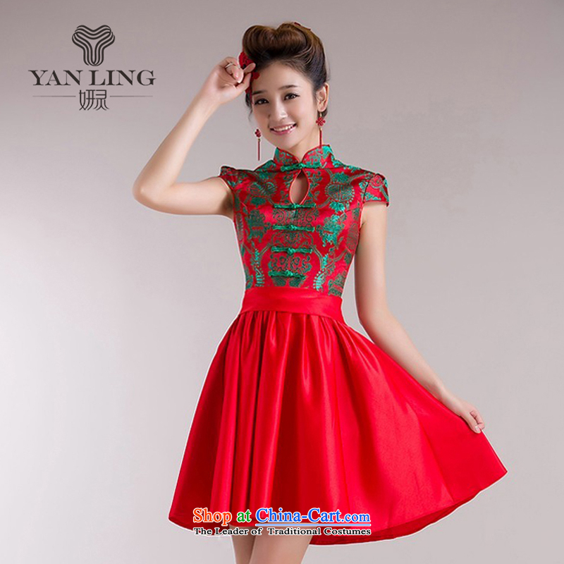 Charlene Choi Ling?2015?new dress short of Chinese Wind red bows to the Summer load the lift mast will qipao 72 L