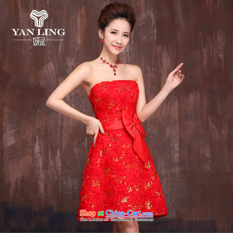 Charlene Choi Ling wedding dresses in spring and autumn 2015 new marriages red short) bows services embroidery lace strap dress?M