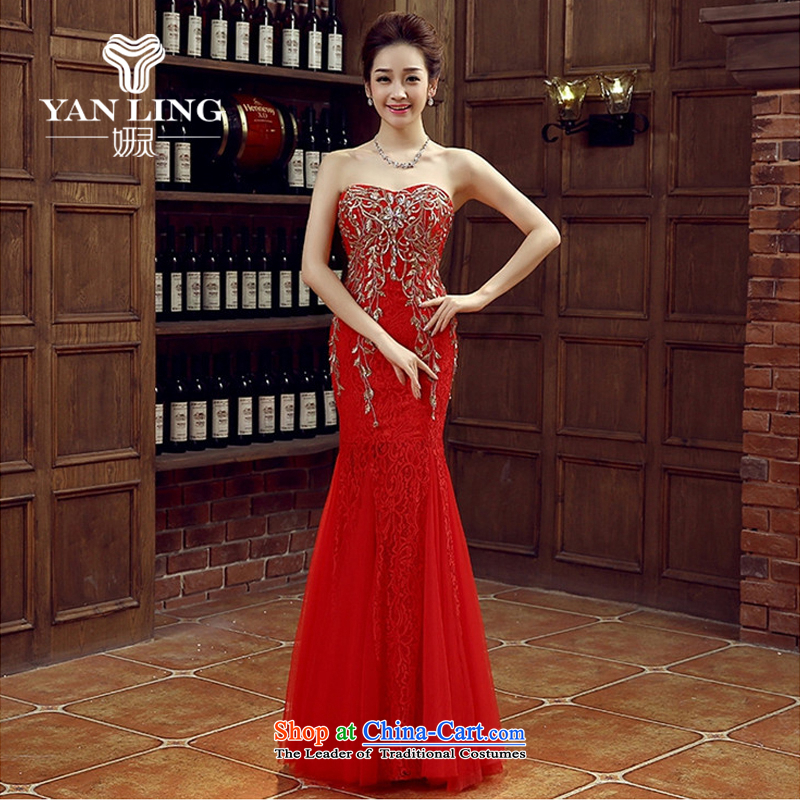 Charlene Choi Ling red bride bridesmaid wedding dress marriage bows services wedding night wear long bride with new 2015?L