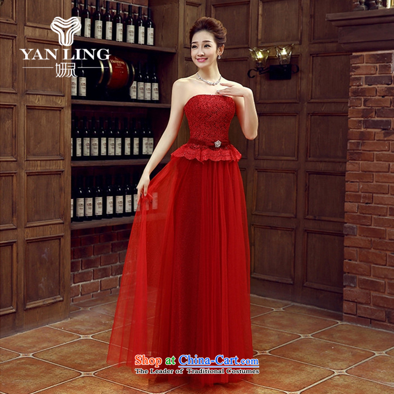 Charlene Choi Ling wine red bride bridesmaid wedding dress marriage bows services wedding night wear long bride with the new 2015 Red?XXL