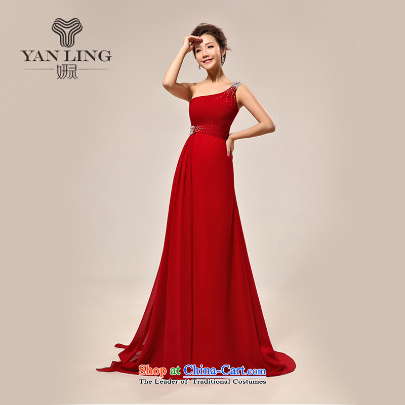 Charlene Choi Ling 2015 new stylish shoulder drill on a small red tail bows services evening dresses wedding dresses LF132 XL