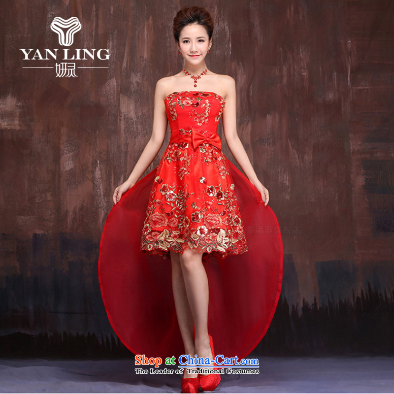 Charlene Choi Ling 2015 new front stub long after the strap dress qipao gown red brides marriage short) bows services?XL