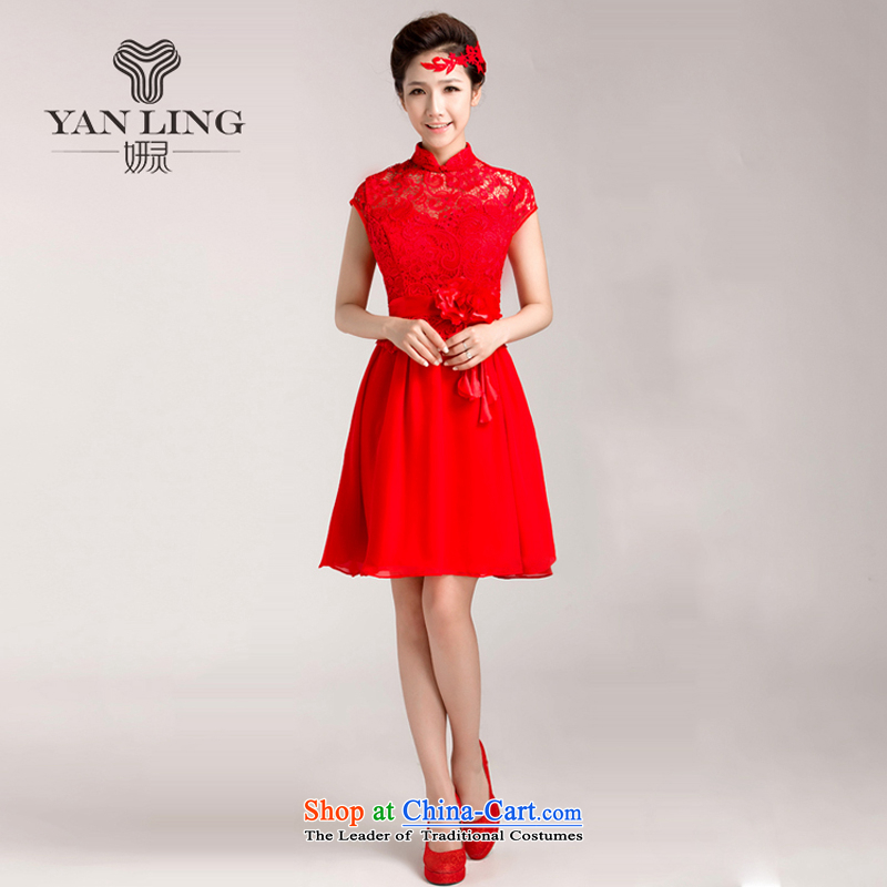Charlene Choi Ling 2015 new marriages bows services red_ Wedding dress lace qipao short-sleeved聽XXL