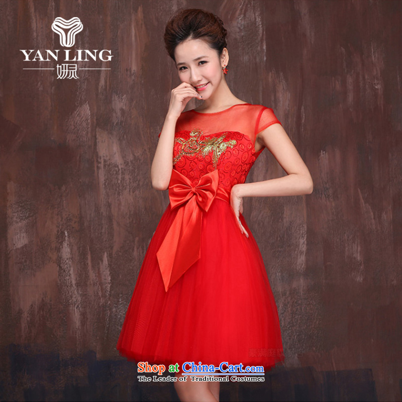 Charlene Choi spirit of marriages red short?spring and summer 2015, serving drink new Kim embroidered Bong-engraving shoulders cheongsam dress?L