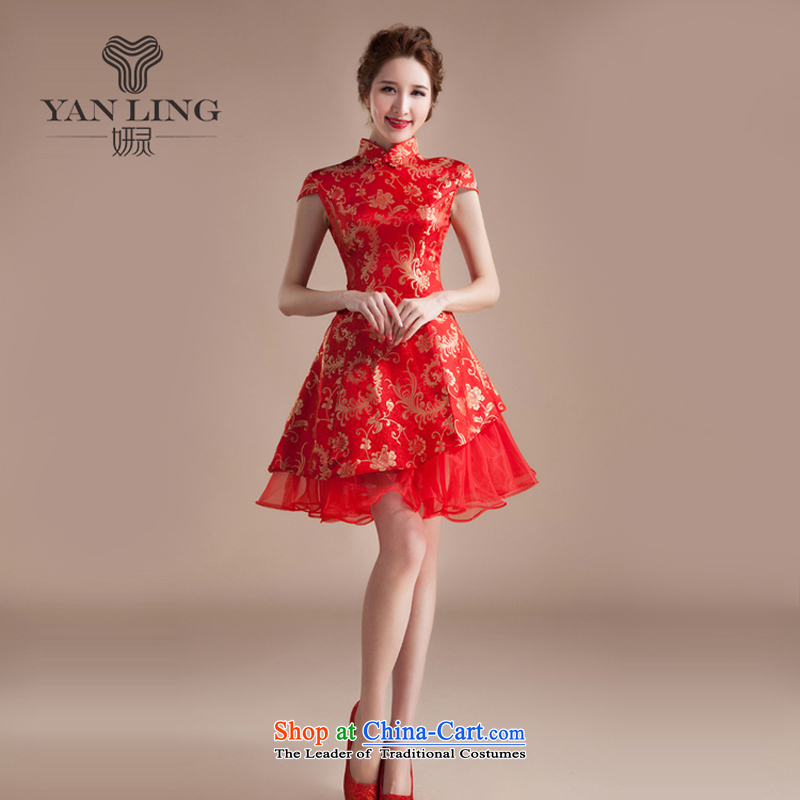 Charlene Choi Ling 2015 new summer cheongsam dress short of marriage dress red retro embroidery wedding services improved bride bows?M