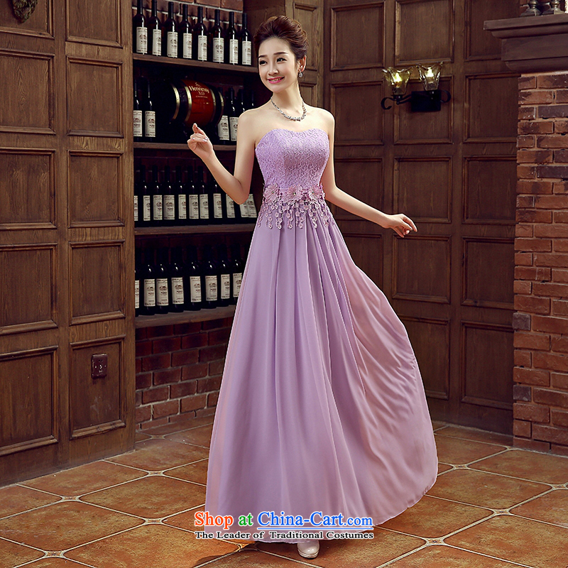 Charlene Choi Ling purple bride bridesmaid wedding dress marriage bows services wedding night wear long bride with new 2015 light purple?XXL