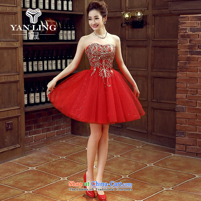 Charlene Choi Ling bride dress marriage services new marriage bows stylish small red dress female Dress Short, banquet spring and summer?XL