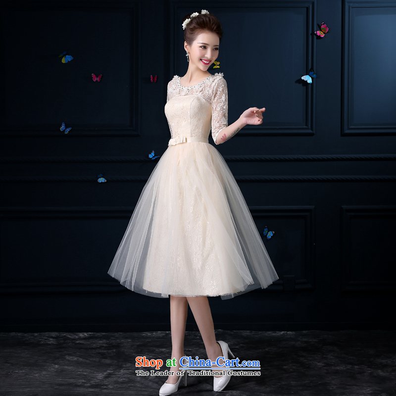 Bridesmaid Summer 2015 New Service champagne color girl in long small dining dress sister skirt bridesmaid dress bridesmaid mission round-neck collar chest no flowers -- sleeved�XL