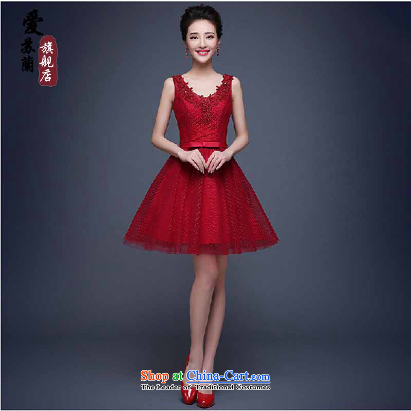 Evening dress new summer 2015 short, banquet dresses dress girl brides bows to marry a stylish shoulder red?XXXL field