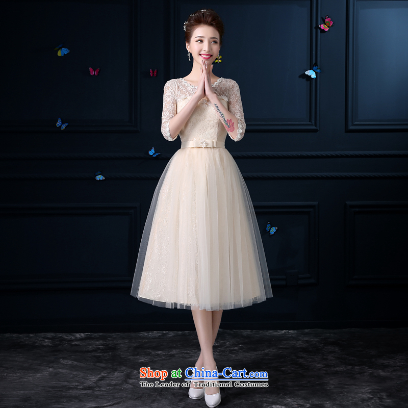 The privilege of serving-leung 2015 new bridesmaid to serve in the summer the girl wedding dresses long small countries such as bridesmaid mission sister skirt round-neck collar dripping-dong in cuff -�L