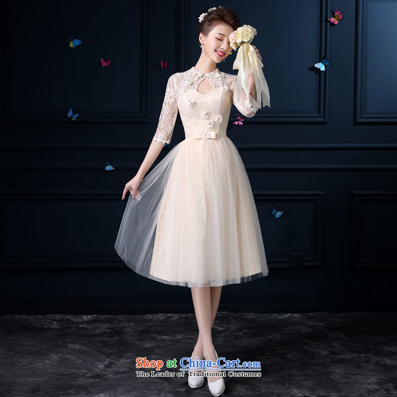 The privilege of serving-leung new 2015 Summer in long bridesmaid wedding dresses services female small bridesmaid mission with collar dresses sister skirts - Cuff?L