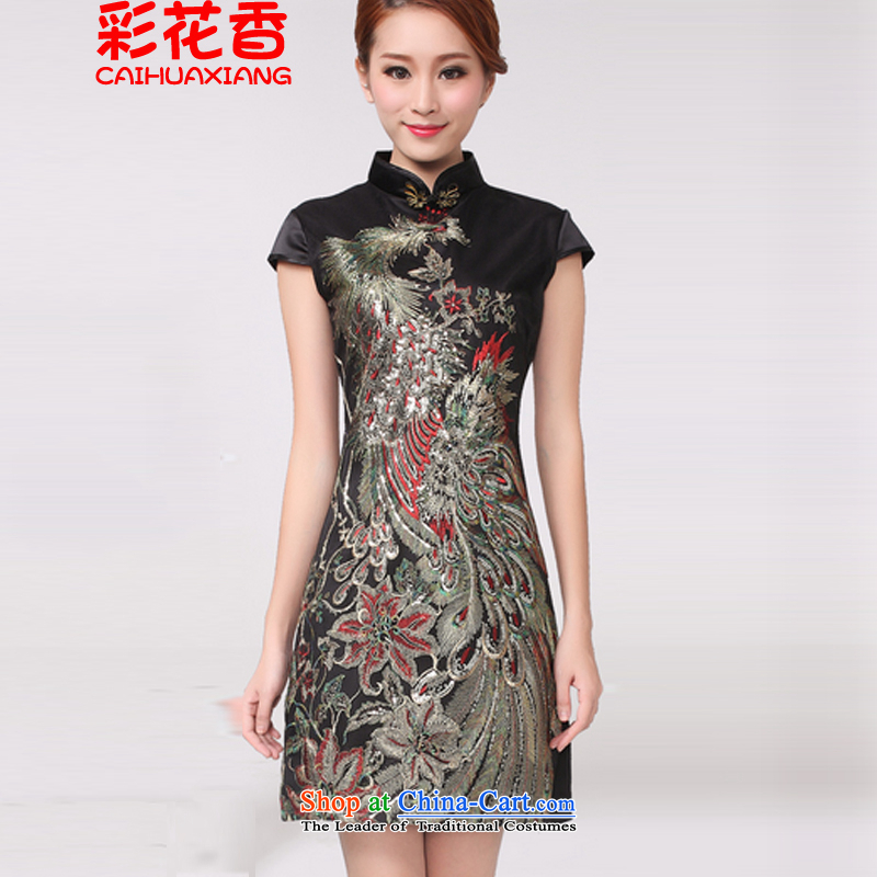 The fragrance of the Multimedia?2015 New Peacock hot embroidered peacock wedding celebration for the moms qipao qipao improved black?L
