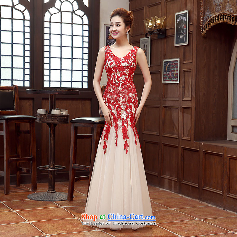 The bride of dress wedding dress yarn stage performances bridesmaid bride gown upscale embroidery lace photography long dresses crowsfoot red shoulders,?L
