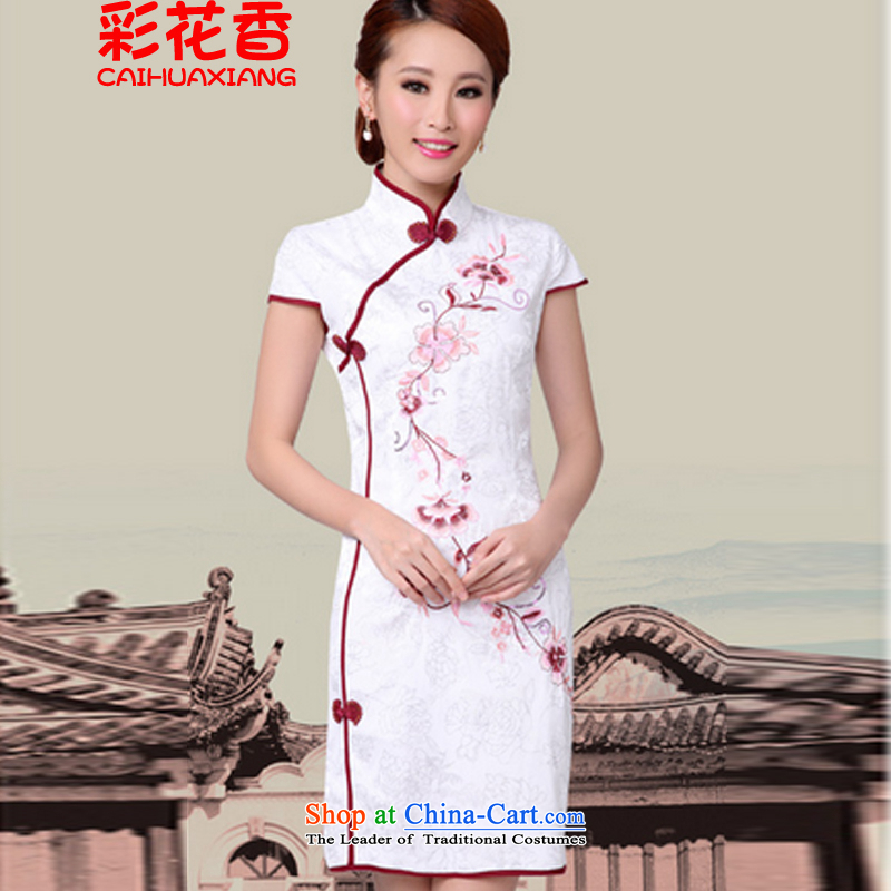 The fragrance of?new #2015 multimedia white cheongsam dress stylish CHINESE CHEONGSAM qipao improved annex 6628white?L