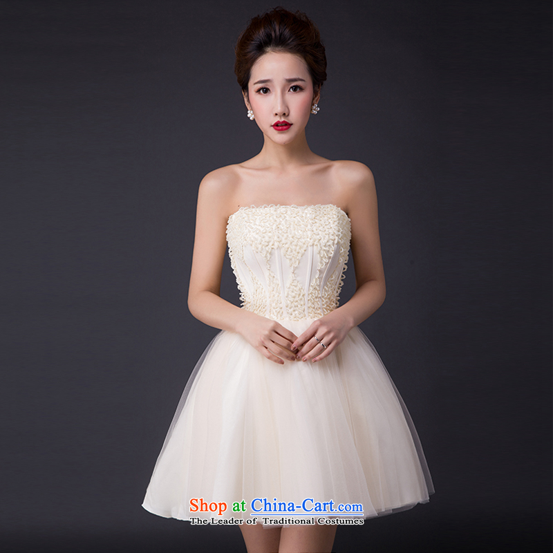 Hei Kaki?2015 new bows dress Korean stylish evening dresses and chest was chaired by annual concert dress skirt? JX09?champagne color?XXL