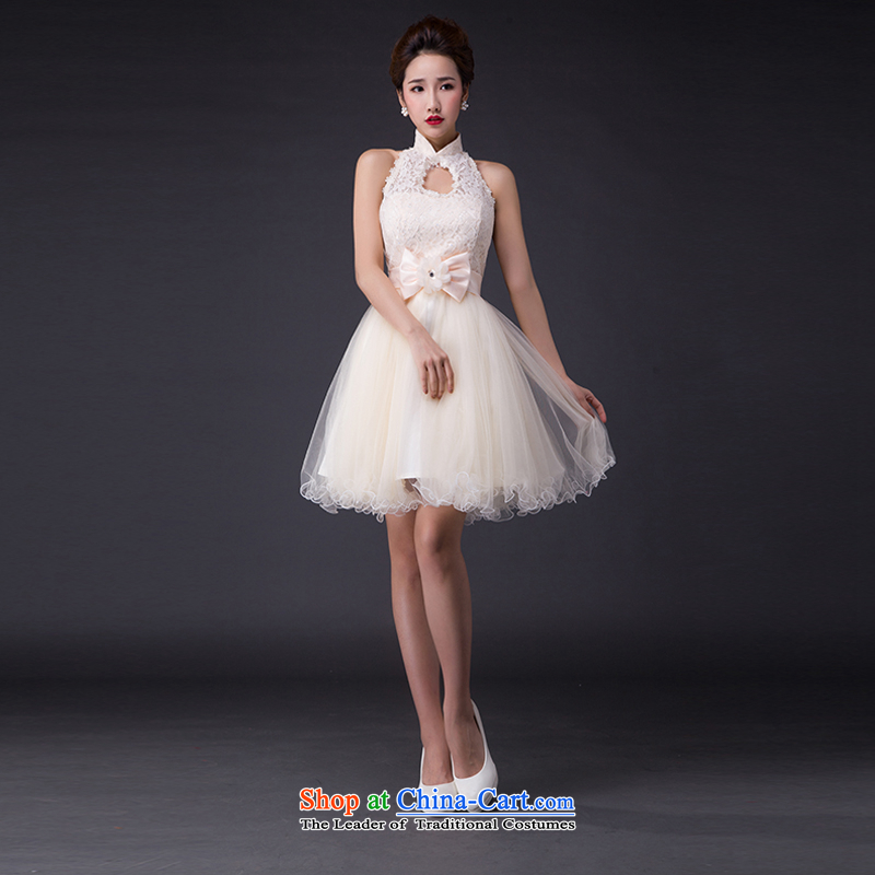 Hei Kaki wedding dresses 2015 new sexy Korean version of the Princess Bride also integrated with short-hang, irrepressible bon bon skirt bridesmaid JX10 serving champagne color聽XS