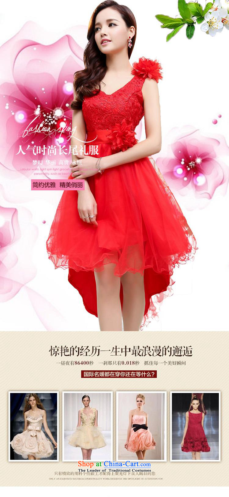 Upscale dress large red wedding dresses etiquette dress single shoulder strap lace bon bon skirt long tail princess skirt 2015 Summer new apricot XL Photo, prices, brand platters! The elections are supplied in the national character of distribution, so action, buy now enjoy more preferential! As soon as possible.