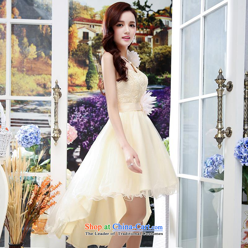 Upscale dress Summer 2015 new wedding dresses etiquette dress single shoulder strap lace bon bon skirt long tail princess skirt apricot M