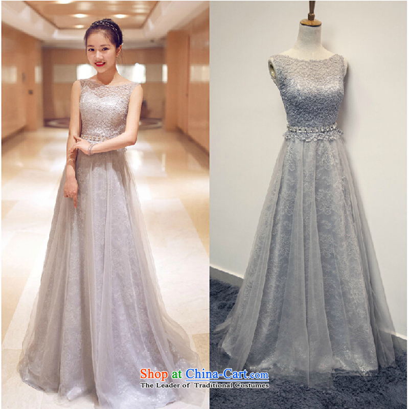 Wedding dress 2015 new Korean lace bride bows banquet chairman of evening dress spring small Tail Light Gray?S