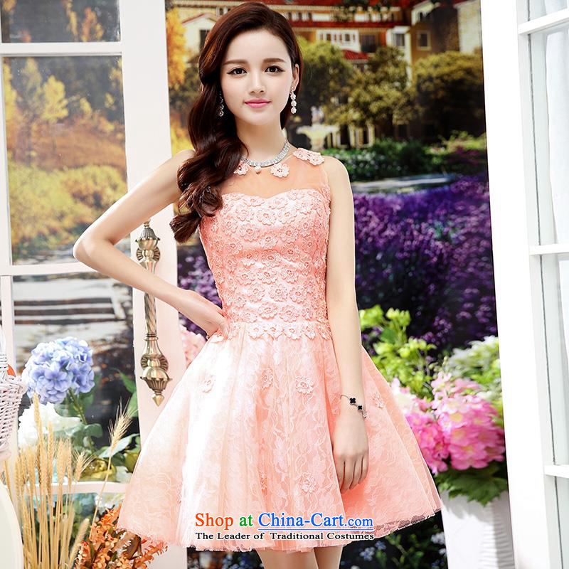 Upscale dress 2015 Summer new lace dresses dress like Susy Nagle sleeveless bon bon skirt video thin Princess Sau San skirt banquet etiquette replacing botanists skirt pink M