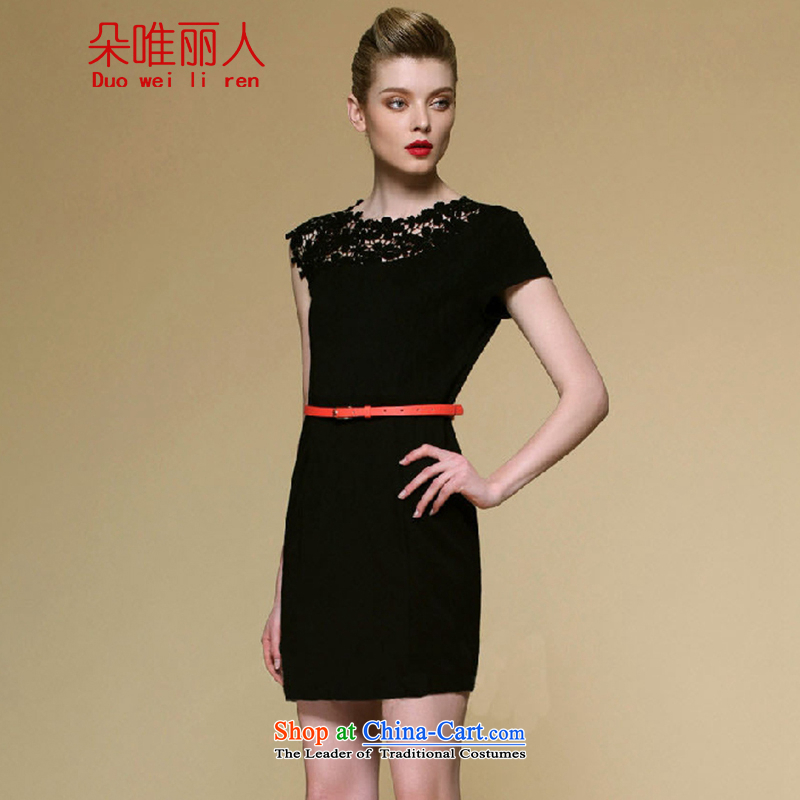 The people of Goguryeo flower CD?2015 Summer irregular Beveled Shoulder Sau San video thin elegance upscale lace engraving package and dress?608?Black?M