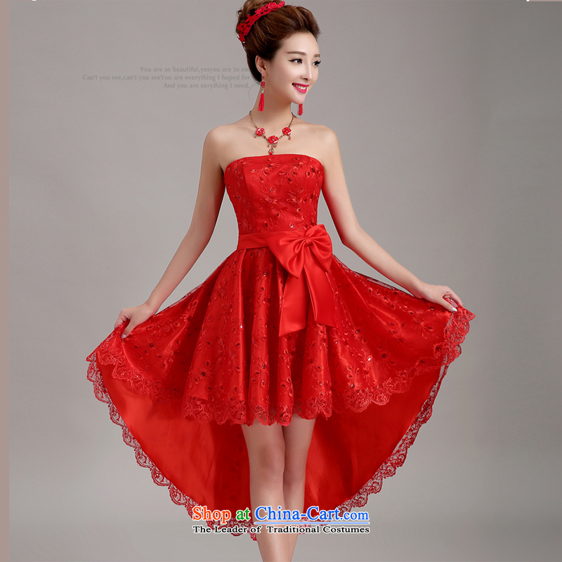 Pure Love bamboo yarn 2015 new bride front stub long after the marriage lace red bows to pregnant women small evening dress cheongsam dress female red L