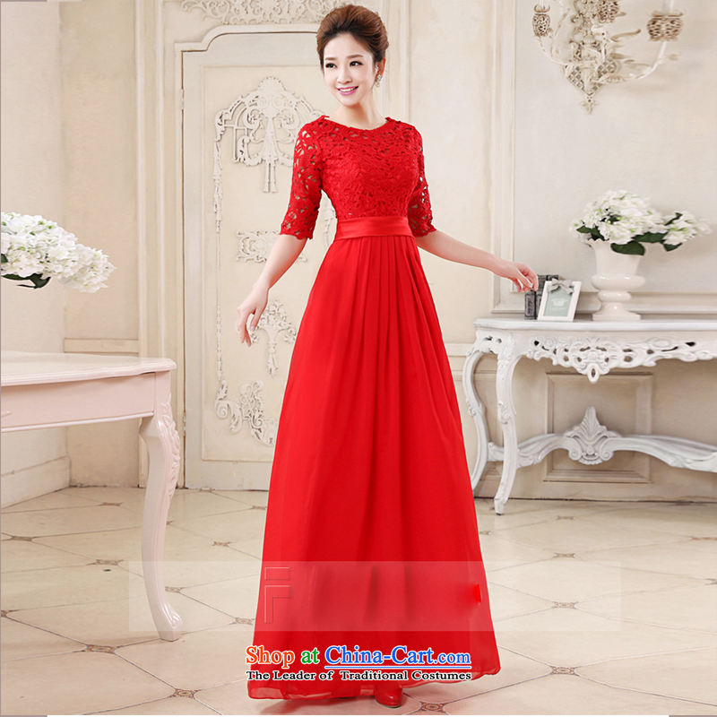 Pure Love bamboo yarn new red married women serving the word bows shoulder lace stylish Sweet dress Sau San short of dress bridal dresses Changchun summer red long tailored please contact Customer Service