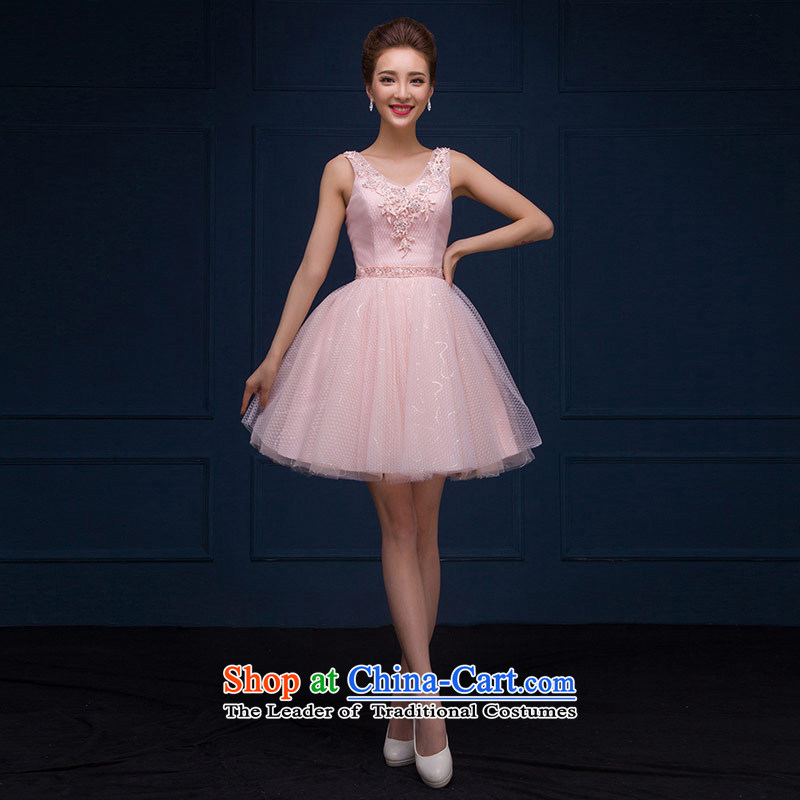 The feelings of Chinese?New Year 2015 Uganda Red Bridal Services sweet word bows shoulder bridesmaid small dress autumn and winter, Pink dresses?L