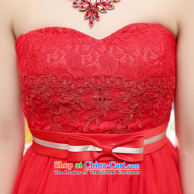 Upscale dress wiping the chest dresses dress Summer 2015 new wrapped chest lace bon bon skirt bridesmaid princess skirt banquet wedding dress red XL,UYUK,,, shopping on the Internet