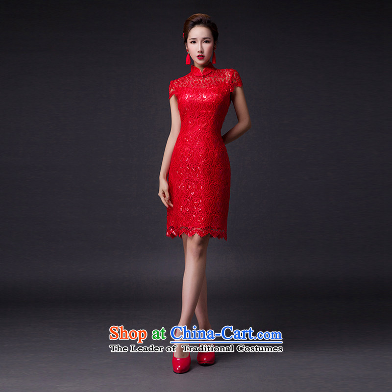 Hei Kaki?2015 new bows dress classic collar Stylish retro engraving lace irrepressible tray clip dress skirt?L003?RED?XS
