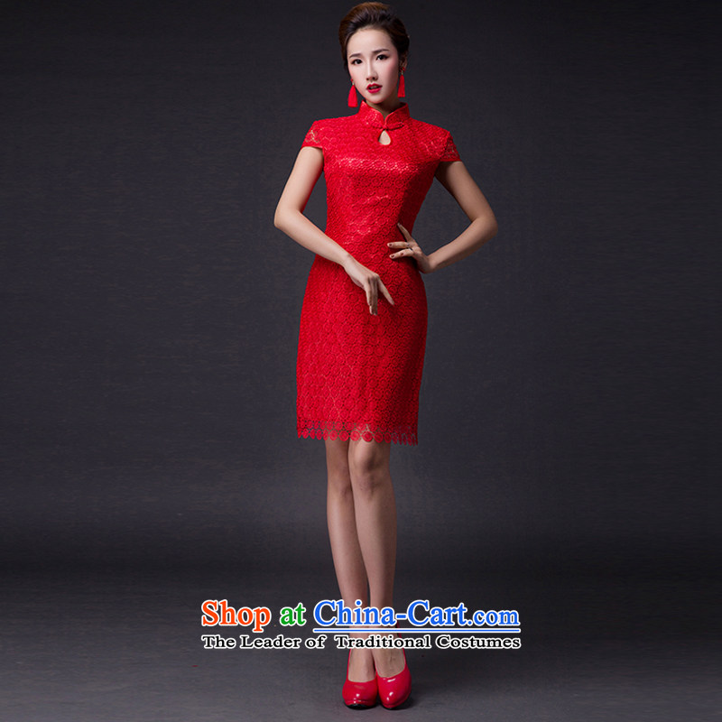 Hei Kaki?2015 new bows dress classic collar Stylish retro engraving lace irrepressible tray clip dress skirt?L004?RED?XS