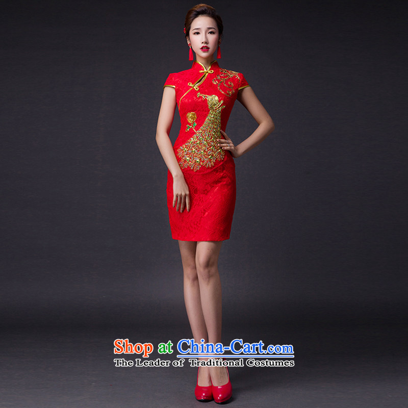 Hei Kaki?2015 new bows dress classic style of retro fine embroidery irrepressible tray clip dress skirt?L005?red left tailored Size