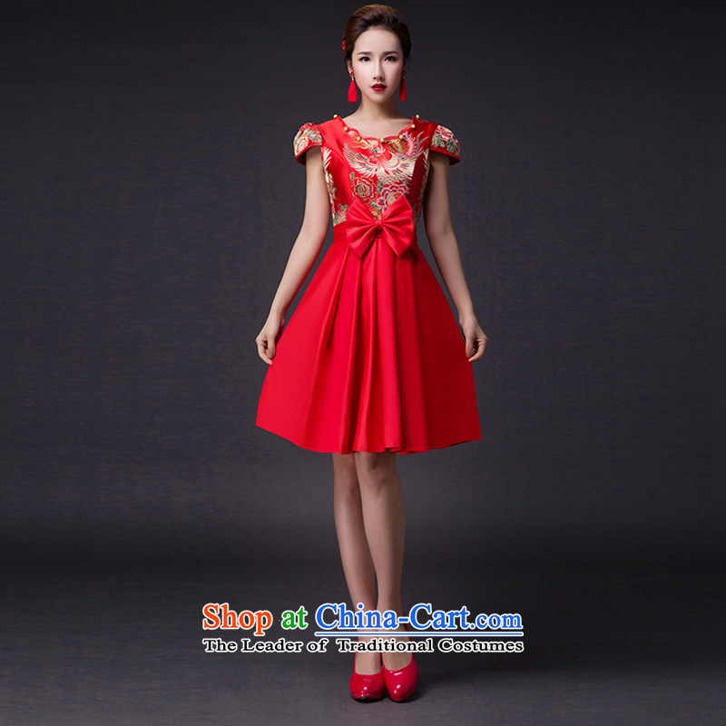 Hei Kaki�2015 new bows dress classic style of retro fine embroidery irrepressible tray clip dress skirt�L006�RED�M