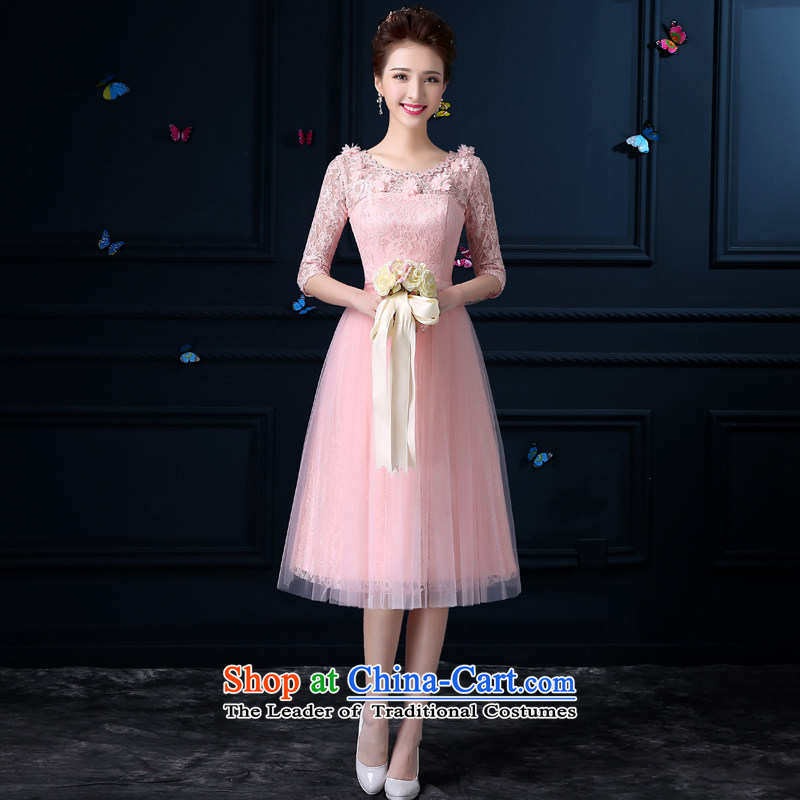The privilege of serving-leung new 2015 pink bridesmaid to female summer fashion, long dresses and sisters in small countries such as bridesmaid round-neck collar chest no flowers -- sleeved?3XL