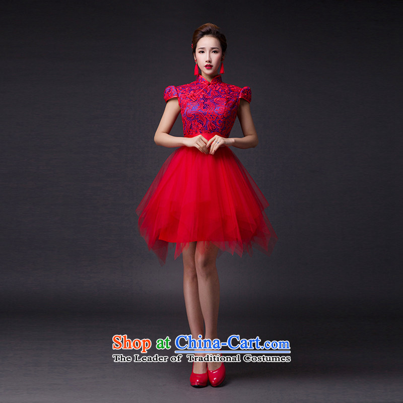 Hei Kaki?2015 new bows dress classic style of fine Antique Lace irrepressible tray clip dress skirt?L008?wine red?S