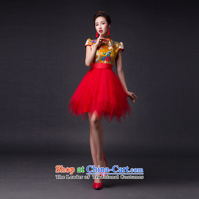 Hei Kaki?2015 new bows dress classic collar Stylish retro gauze irrepressible tray clip dress skirt?L009?apricot left tailored Size