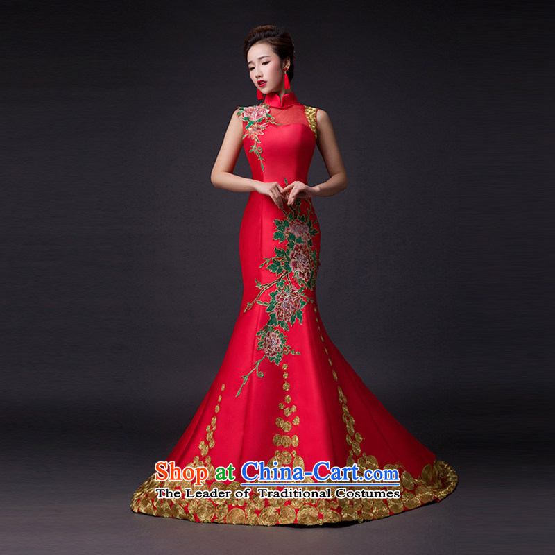 Hei Kaki?2015 new bows dress classic style of retro fine embroidery irrepressible tray clip dress skirt?L010?wine red?XS