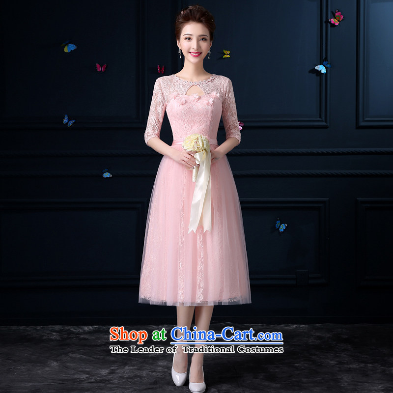 The privilege of serving-leung 2015 new bridesmaid to serve in the summer the girl long gown bridesmaid to serve small sister mission bridesmaid skirt round-neck collar dripping-dong in cuff?3XL -
