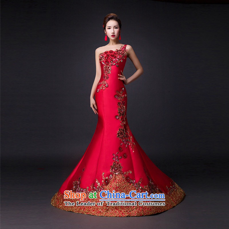 Hei Kaki?2015 new bows dress elegant stylish retro Beveled Shoulder exquisite embroidery irrepressible tray clip dress skirt?L012?wine red?XXL