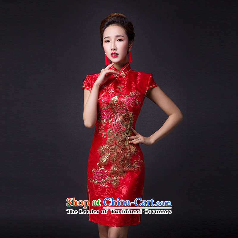 Hei Kaki?2015 new bows dress classic style of retro fine embroidery irrepressible tray clip dress?L013?deep red?XL