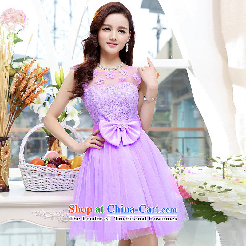 Upscale dress lace round-neck collar dresses sleeveless dress bon bon skirt 2015 Summer New flower bud skirt wedding dress bridesmaid skirt princess purple聽XL