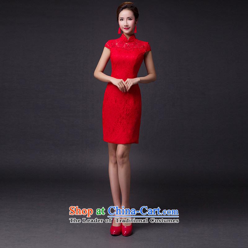 Hei Kaki?2015 new bows dress classic collar stylish lace irrepressible tray clip dress skirt?L015?RED?XXL
