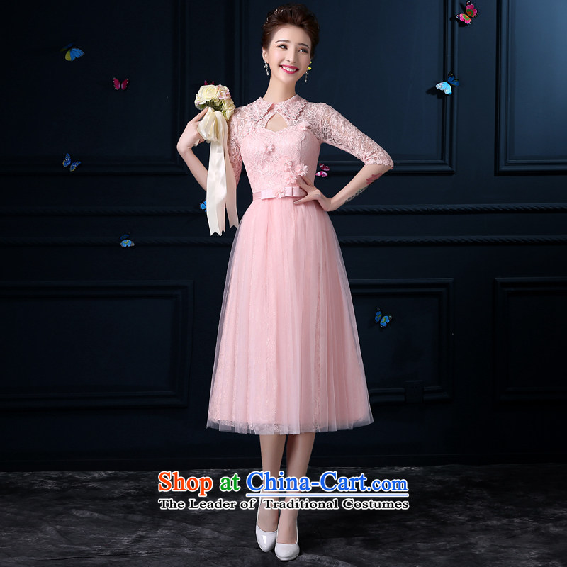 The privilege of serving-leung new summer 2015. Long bridesmaid service Female dress stylish skirt sister bridesmaid skirt a mission - sleeved?2XL Collars