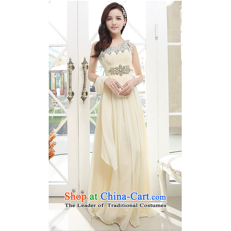 Upscale dress?Summer 2015 new ultra long skirt dress single Shoulder Strap-to-ceiling petticoats evening dresses apricot?XL