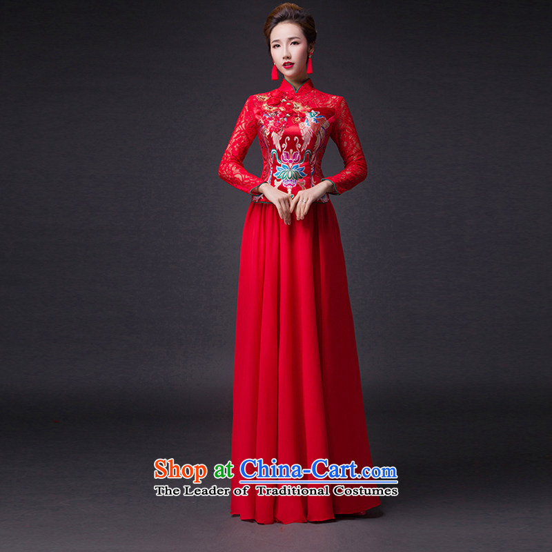Hei Kaki?2015 new bows dress classic style of retro fine embroidery irrepressible tray clip dress skirt?L017?red left tailored Size